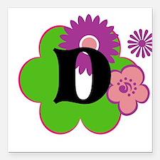 """Letter D Square Car Magnet 3"""" x 3"""""""