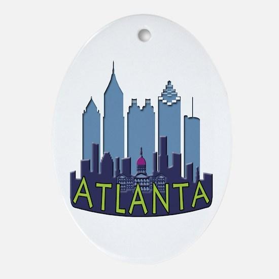 Atlanta Skyline Newwave Cool Ornament (Oval)