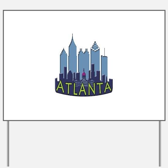 Atlanta Skyline Newwave Cool Yard Sign