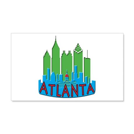 Atlanta Skyline Newwave Primary 20x12 Wall Decal