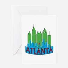 Atlanta Skyline Newwave Primary Greeting Card