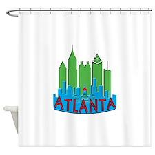 Atlanta Skyline Newwave Primary Shower Curtain