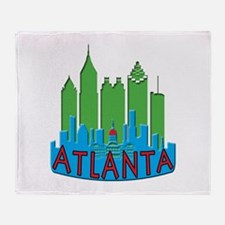 Atlanta Skyline Newwave Primary Throw Blanket