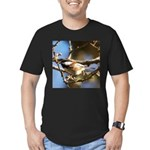 Chickadee in Tree Men's Fitted T-Shirt (dark)