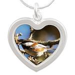 Chickadee in Tree Silver Heart Necklace