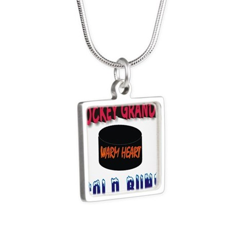 HOCKEY GRANDPA.png Silver Square Necklace