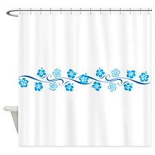 Flower Wave Stripe Shower Curtain