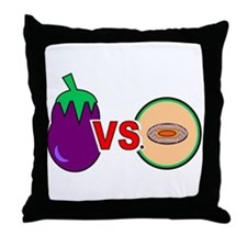 EGGPLANT VS. CANTALOUPE Throw Pillow