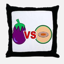 EGGPLANT VS. CANTALOUPE Throw Pillow
