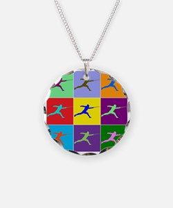 Pop Art Lunge Necklace Circle Charm
