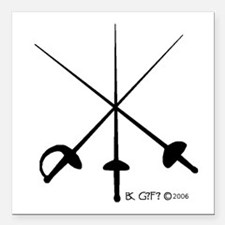 "Three Weapon Square Car Magnet 3"" x 3"""