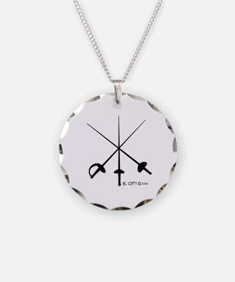Three Weapon Necklace Circle Charm