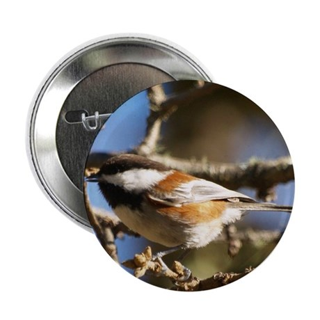 "Chickadee in Tree 2.25"" Button (100 pack)"