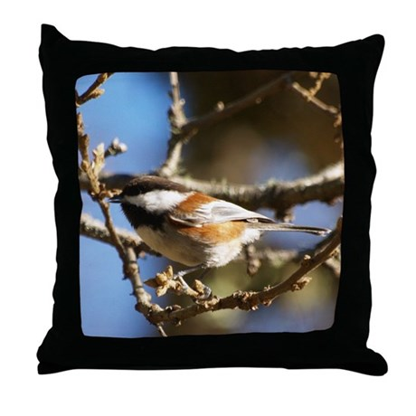 Chickadee in Tree Throw Pillow