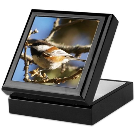 Chickadee in Tree Keepsake Box