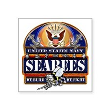 """US Navy Seabees Blue We Fight Square Sticker 3"""" x"""