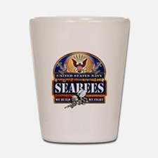 US Navy Seabees Blue We Fight Shot Glass