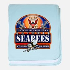 US Navy Seabees Blue We Fight baby blanket