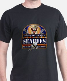 US Navy Seabees Blue We Fight T-Shirt
