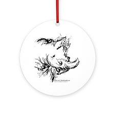 Black Rhinoceros Ornament (Round)