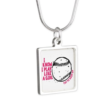 I Know I Play Like A Girl Silver Square Necklace