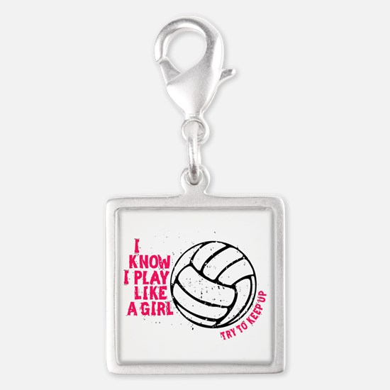 Play Volleyball Like a Girl Silver Square Charm