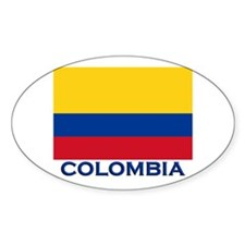 Colombia Flag Gear Oval Decal