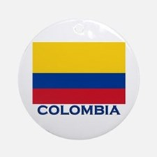 Colombia Flag Gear Ornament (Round)
