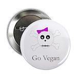Skull Grrrl - Go Vegan - Button