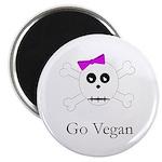 Skull Grrrl - Go Vegan - Magnet