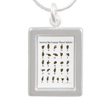 ASL Alphabet Silver Portrait Necklace