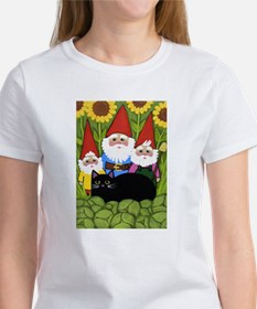 Garden Gnomes and Black Cat T-Shirt