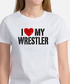 I Love My Wrestler Women's T-Shirt