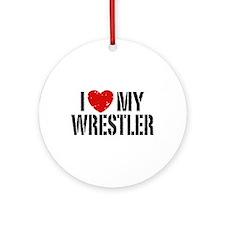 I Love My Wrestler Ornament (Round)