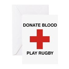 Donate Blood - Play Rugby Greeting Cards (Package