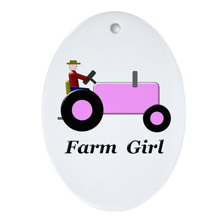 Farm Girl Pink Tractor Ornament (Oval)