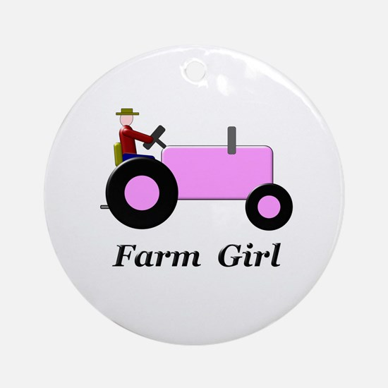 Farm Girl Pink Tractor Ornament (Round)