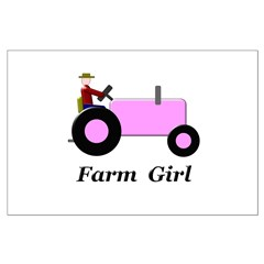 Farm Girl Pink Tractor Posters