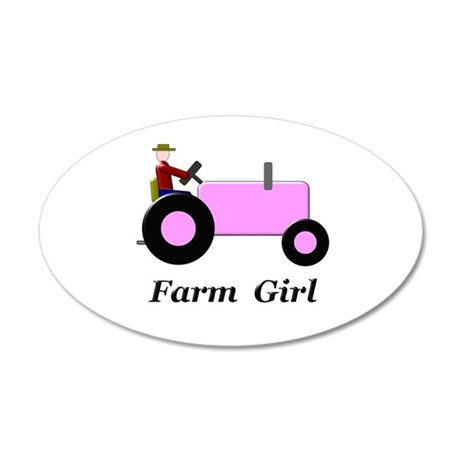 Farm Girl Pink Tractor 35x21 Oval Wall Decal