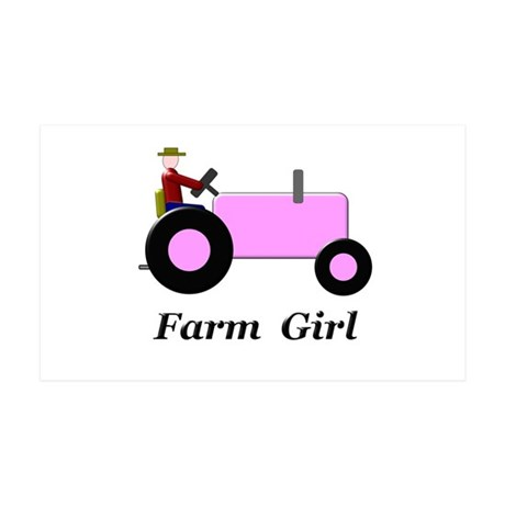 Farm Girl Pink Tractor 35x21 Wall Decal