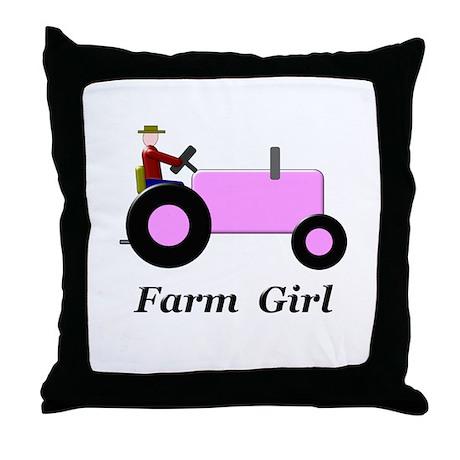 Farm Girl Pink Tractor Throw Pillow