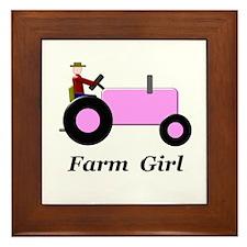 Farm Girl Pink Tractor Framed Tile