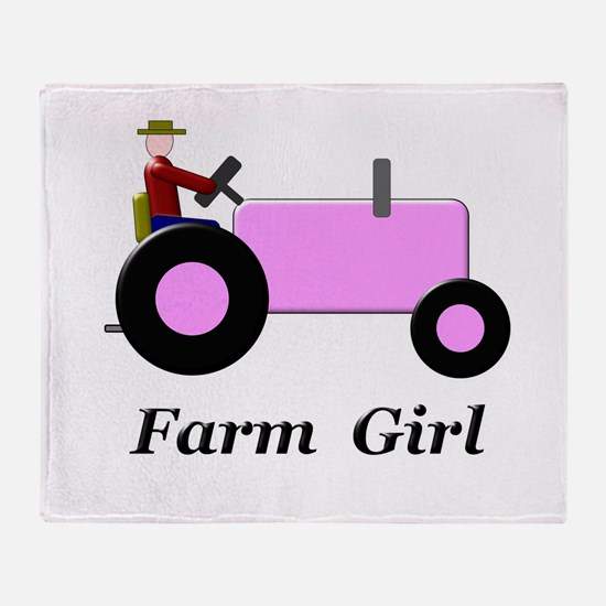 Farm Girl Pink Tractor Throw Blanket