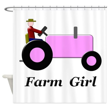 Farm Girl Pink Tractor Shower Curtain