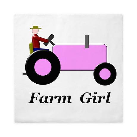 Farm Girl Pink Tractor Queen Duvet