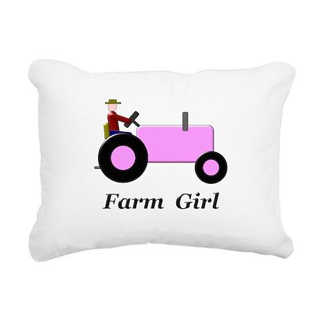 Farm Girl Pink Tractor Rectangular Canvas Pillow