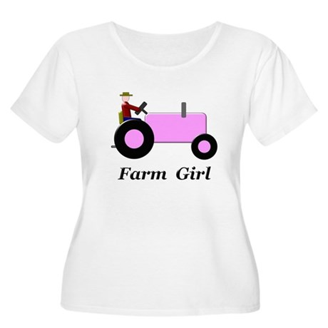 Farm Girl Pink Tractor Women's Plus Size Scoop Nec