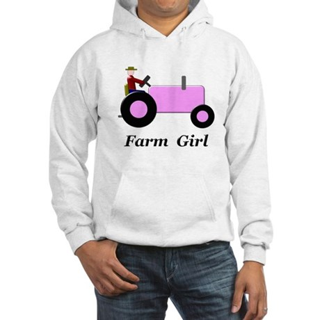 Farm Girl Pink Tractor Hooded Sweatshirt