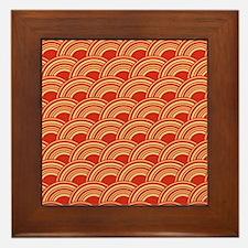 Red Waves Framed Tile