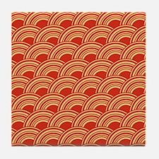 Red Waves Tile Coaster